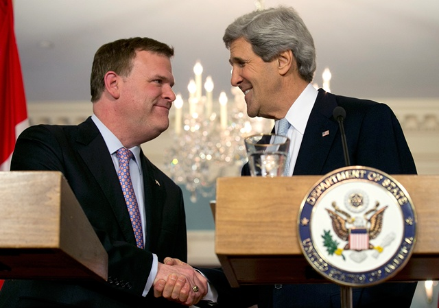 WASHINGTON, DC - FEBRUARY 08:  U.S. Secretary of State John Kerry (R) shakes hands with Canadian Foreign Minister John Baird (L) during a press conference after a bilateral meeting at the State Department February 8, 2013 in Washington, DC. Kerry said that the U.S. government continues to evaluate options to solve problematic relations with both the Syrian and Iranian governments.  (Photo by Win McNamee/Getty Images)